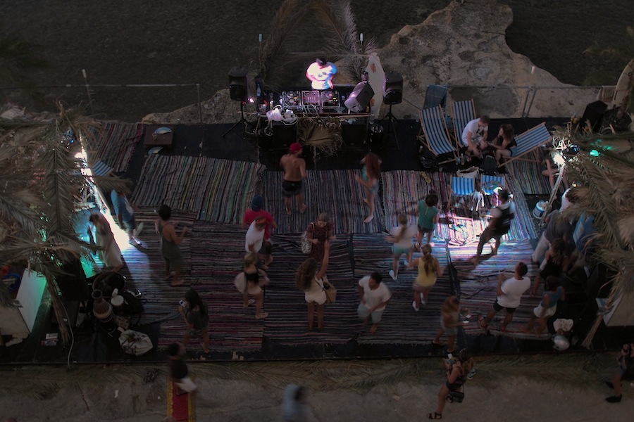 Beach party from above
