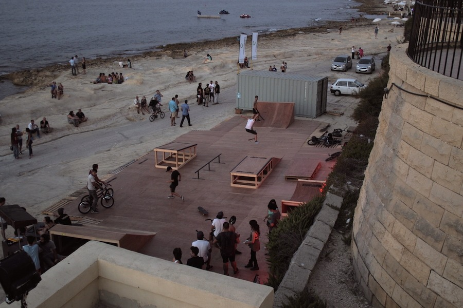 Temporary Skate Park set up along Sliema beach front