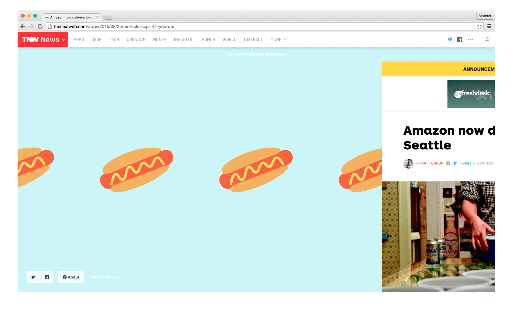 Hot Dog Squiggle on The Next Web's Canvas