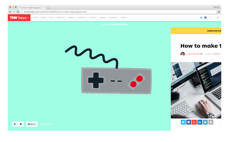 NES Squiggle on The Next Web's Canvas